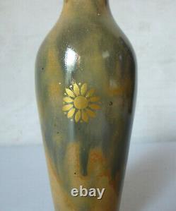 Vase miniature grès rehaussé à l'or fleurs Manufacture Sèvres 1903 Art Nouveau
