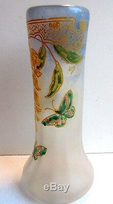 Vase pâte de verre émaillée Legras signé LEG Glycine et Papillons, Art Nouveau