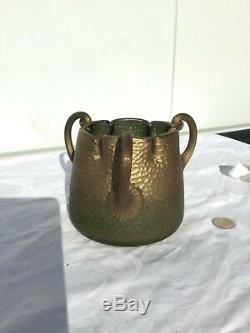 Vase pâte verre art nouveau 1900 montjoye Vert et doré, rare