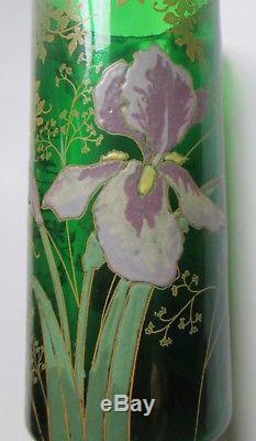Vase rouleau Legras verre émaillé décors d'Iris Art Nouveau 1900