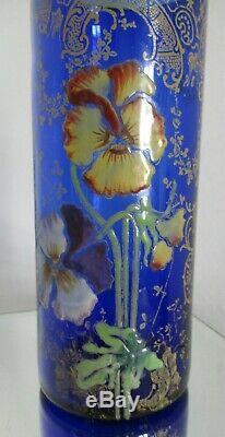 Vase rouleau verre émaillé LEGRAS aux pensées Bleu COBALT 1900 ART NOUVEAU