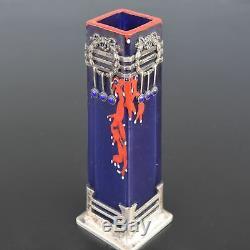 Vase soliflore Art nouveau argent et verre émaillé