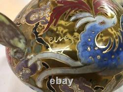 Vase verre émaillé Art Nouveau Art Deco Signé