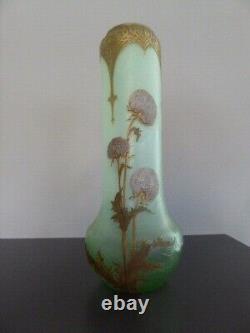 Vase verre émaillé Legras, Montjoye, Art nouveau, 40cm et signé