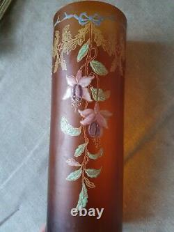 Vase verre émaillé Legras décor de fuchsias art nouveau art déco