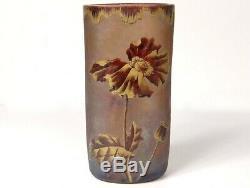 Vase verre émaillé Montjoye fleurs pavot feuillage Art Nouveau XIXè siècle