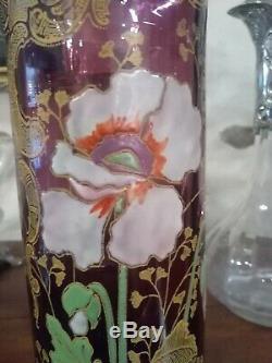 Vase verre émaillé décor floral Legras Montjoye mauve art nouveau