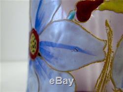 Vase verre émaillé signé Legras Libellule Narcisse 30 cm glass art nouveau 1