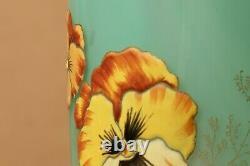 Vase verre fleurs pensées style Legras Montjoye Moser Lamartine art nouveau 1900