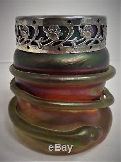 Vase verre irisé, Loetz art nouveau, 1900 snake serpent