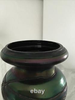Vase verre irisé Loetz irisé Reflets métalliques art nouveau