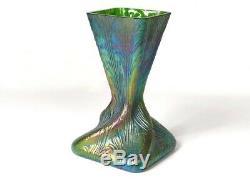 Vase verre irisé torsadé Loetz Bohême Autriche feuillage Art Nouveau XIXème