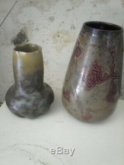 Vases Clément Massier Art nouveau Japonisme Symboliste tbe 15 cm et 20 cm