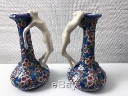 Vases Les Bleus Emaux de la Louvière Boch Art Déco Nouveau années 20 DLG Longwy
