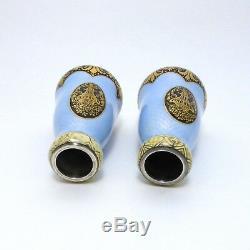 Vases en Argent 935 Guilloche emaille 1900 1930 Silver guilloche enamelled