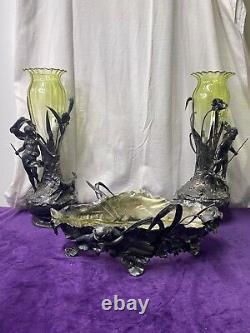 Wmf Exceptionnel Centre De Table Épaule De 2 Grands Vases Figuratif Art Nouveau