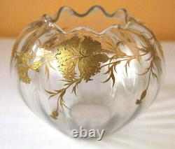 XIXe Vase Boule Col Polylobe Art Nouveau Email Oeillets Legras Montjoye Baccarat